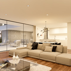 CASA BL1 - Moradia na Herdade da Aroeira - Projeto de Arquitetura Salas de estar modernas por Traçado Regulador. Lda Moderno Madeira Acabamento em madeira