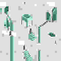 MAME32 Green Tecnografica Pareti & Pavimenti in stile moderno Bianco