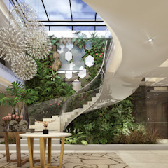 Modern House, Lusaka, Zimbabwe Modern Corridor, Hallway and Staircase by Spegash Interiors Modern