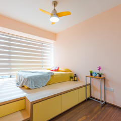 Master Bedroom DAP Atelier Scandinavian style bedroom Plywood Yellow