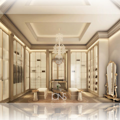 Exceptional Walk-in Closet Interiors من IONS DESIGN إستعماري نحاس/برونز