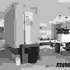 MINIMALIZM Minimalistyczny korytarz, przedpokój i schody od MIKOŁAJSKAstudio Minimalistyczny