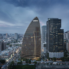 National Trade Center Asian style study/office by Architecture by Aedas Asian Metal