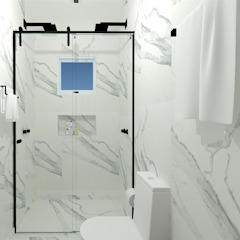 LAVABOS E BANHEIROS Banheiros minimalistas por Talita Kvian Minimalista Cerâmica