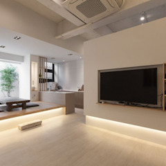 Salas de estar asiáticas por 디자인투플라이 Asiático