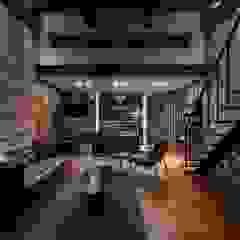 전주인테리어 우미린 탑층 아파트인테리어 , 인더스트리얼 인더스트리얼 거실 by 디자인투플라이 인더스트리얼