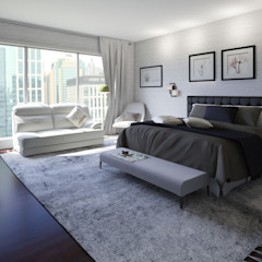 Home Staging Virtual - Venta de Apartamento sobre Planos..... Habitaciones modernas de Arkiline Arquitectura Optativa Moderno Aglomerado