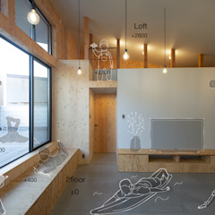 Industrial style living room by 塚野建築設計事務所 Industrial Plywood