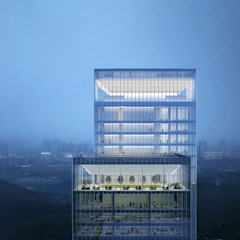 World-class Twisting Tower Glows in Ballet of Light Modern office buildings by Architecture by Aedas Modern Glass