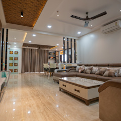 Luxurious Living Room Designed by Nabh Design & Associates Nabh Design & Associates Modern living room Marble Beige