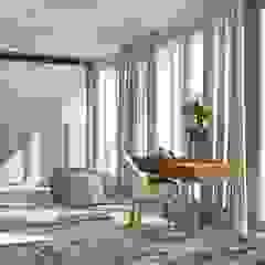 Bedroom with walk-in closet, slaapkamer met walk-in closet Moderne slaapkamers van Stefania Rastellino interior design Modern
