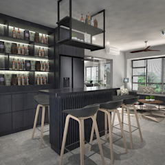 Clementi Ave 1 Industrial style dining room by Swish Design Works Industrial Plywood