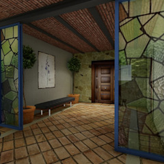 Rustic style corridor, hallway & stairs by A + I PROYECTO Rustic