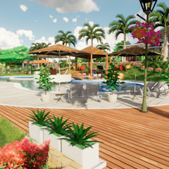Tropical style balcony, porch & terrace by ROQA.7 ARQUITECTURA Y PAISAJE Tropical