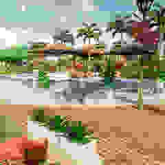 Paisajismo en vivienda campestre Balcones y terrazas tropicales de ROQA.7 ARQUITECTURA Y PAISAJE Tropical