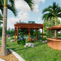 Paisajismo en vivienda campestre de ROQA.7 ARQUITECTURA Y PAISAJE Tropical