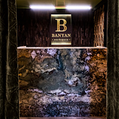Banyan Workspace Tropical style offices & stores by S.Lo Studio Tropical Stone