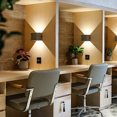 Banyan Workspace Tropical style offices & stores by S.Lo Studio Tropical Plywood