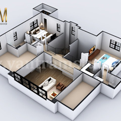 4-bedroom Simple Modern Residential 3D Floor Plan House Design by Architectural Rendering Company, Liverpool توسط Yantram Architectural Design Studio مدرن آجر
