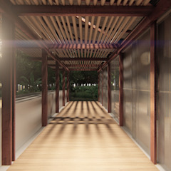 Country style corridor, hallway& stairs by Estudio Táva Country OSB