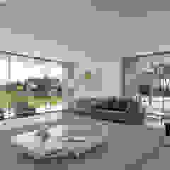 CASA RD1 - Moradia na Quinta do Peru – Projeto de Arquitetura Salas de estar modernas por Traçado Regulador. Lda Moderno Madeira Acabamento em madeira
