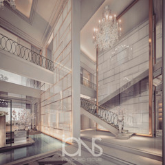 Villa Design – Entrance Lobby and Foyer Interior Design Ideas کرجی مدیترانه، راهرو و پله ها توسط IONS DESIGN مدیترانه ای سنگ
