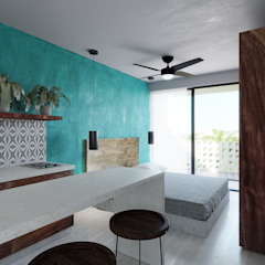 Tropical style study/office by Taller Veinte Tropical