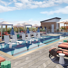 3D Exterior Rendering Services of Architectural Courtyard Pool View by 3D Animation Studios, Doha – Qatar od Yantram Architectural Design Studio Klasyczny