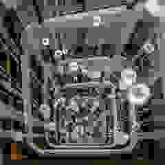 Lustre suspension escalier 23 mètres siège CNIM Espaces de bureaux modernes par Isa Moss Moderne Verre