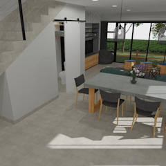 Duplex Development Design, 3D Render and VR Modern dining room by RooMoo Modern