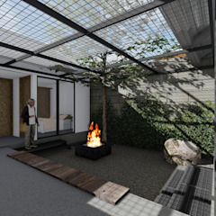 Koridor & Tangga Gaya Industrial Oleh Atelier Ara Industrial Besi/Baja