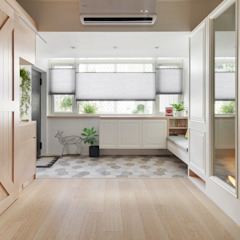 Country style corridor, hallway& stairs by 一葉藍朵設計家飾所 A Lentil Design Country