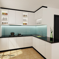 5-room BTO Flat Eclectic style kitchen by Swish Design Works Eclectic Plywood