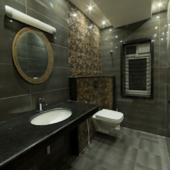 Dark toilet themed interiors Offcentered Architects Modern Bathroom