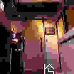 禹陞設計工作室 industrial style corridor, hallway & stairs Solid Wood Grey