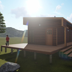 Refugio de Montaña 75 m2 Nave + Arquitectura & Modelación Paramétrica Casas de estilo minimalista