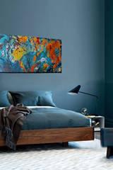 """Wandgestaltung durch Acrylbild """"Farbrausch"""": moderne Schlafzimmer von Mersch-ART"""