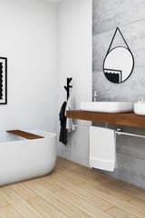 Duża, elegancka łazienka z wanną wolnostojącą.: styl , w kategorii Łazienka zaprojektowany przez LUXUM