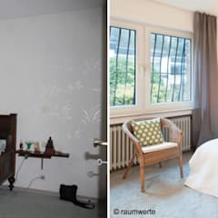Home Staging Erbimmobilie Siebziger Jahre:  Schlafzimmer von raumwerte Home Staging,