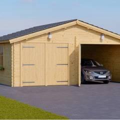 Holzgarage 600 x 600 44 mm, 36 m² FÜR ZWEI FAHRZEUGE: skandinavische Garage & Schuppen von Pineca Group