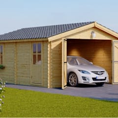 Holzgarage 360 x 535 44 mm, 19,9 m²: skandinavische Garage & Schuppen von Pineca Group