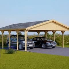 Carport aus Holz CLASSIC für zwei Fahrzeuge, 600 x 600 36 m²: skandinavische Garage & Schuppen von Pineca Group