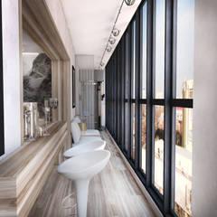Квартира в Ж/К Центральный г. Краснодар Балкон и терраса в стиле минимализм от Студия Маликова Минимализм