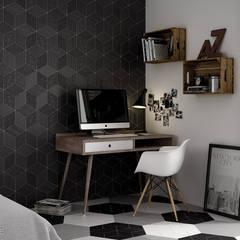 Rhombus black 14x24: Estudios y despachos de estilo  de Equipe Ceramicas