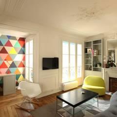 Appartement Parisien: Salle multimédia de style  par Camille Hermand Architectures