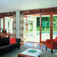 CoFold Sliding Folding Door Hardware:  Living room by Coastal Joinery Hardware