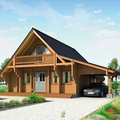 """Ferienhaus """"Norwegen"""" mit Carport und Balkon: skandinavische Häuser von THULE Blockhaus GmbH"""