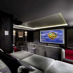 Basement Cinema:  Media room by Wilkinson Beven Design