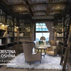Библиотека  и спальня  в рустикальном силе.: Рабочие кабинеты в . Автор – kristinavoloshina