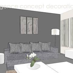 Agencement séjour et entrée ZEN: Salon de style de style Asiatique par agence concept decoration